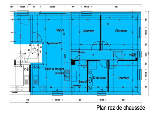 plan appartement 3 chambres