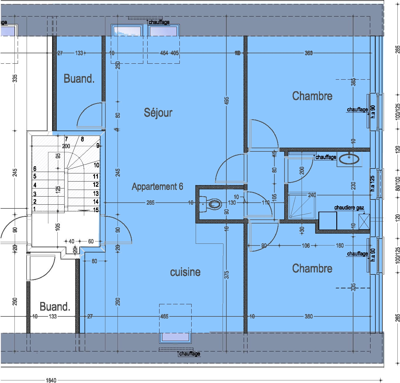 Plan appartement 2 chambres great location vacances for Plan appartement 2 chambres